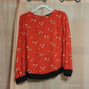 Red Flower Long-Sleeve Blouse